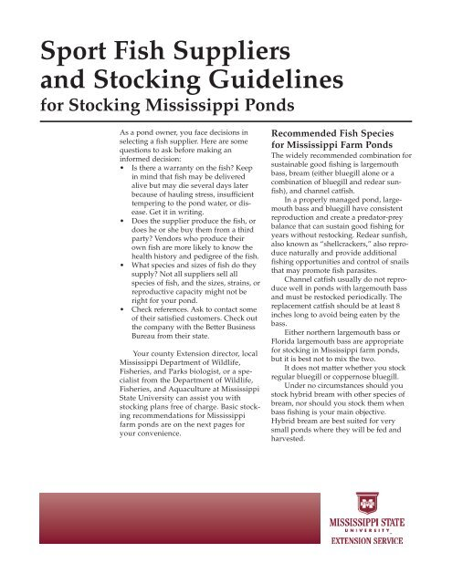 P2525 Sport Fish Suppliers And Stocking Guidelines