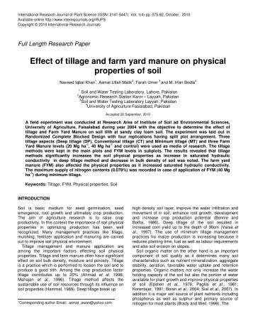 Effect Of Tillage On Soil Physical Properties
