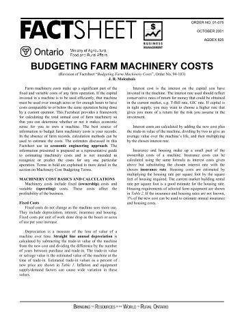 BUDGETING FARM MACHINERY COSTS
