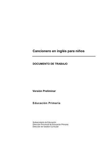 Cancionero en Inglés para niños - Dirección General de Cultura y ...