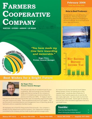 Best Wishes for a Bright Future FARMERS COOPERATIVE ...