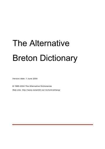The Alternative Breton Dictionary - The Alternative Dictionaries