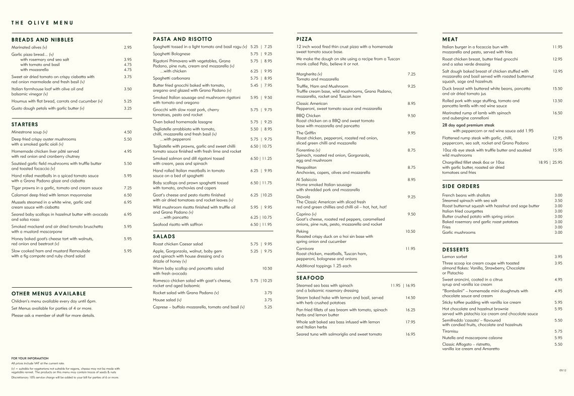 Olive Bar And Kitchen Menu Prices - home decor - Decordova.us