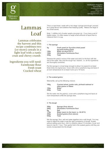 Lammas Loaf - Gilchesters Organics