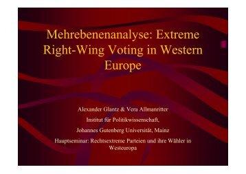 Mehrebenenanalyse: Extreme Right-Wing Voting in ... - Kai Arzheimer
