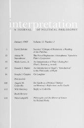 January 1985 - Interpretation: A Journal of Political Philosophy