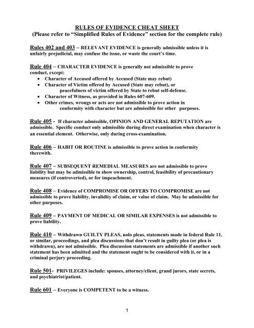 Rules Of Evidence Cheat Sheet