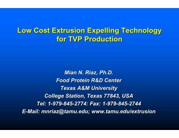 Low Cost Extrusion Expelling Technology for TVP ... - WISHH