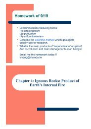 Homework of 9/19 Chapter 4: Igneous Rocks: Product of Earth's ...