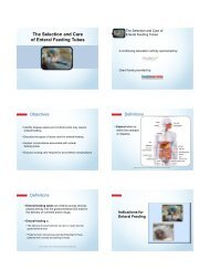 The Selection and Care of Enteral Feeding Tubes