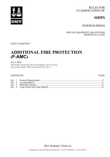 Ship rules Pt.6 Ch.4 - Additional Fire Protection (F ... - DNV Exchange