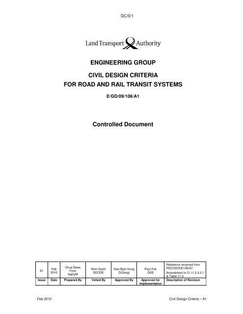 Civil Design Criteria - Land Transport Authority