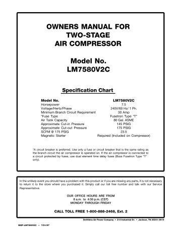 Joy Air compressor Manual g100