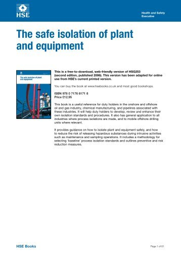 The safe isolation of plant and equipment (HSG253) - Health and ...