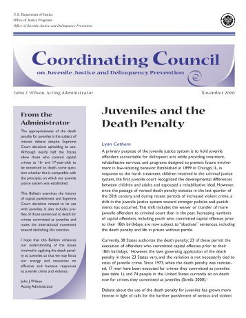 an examination of the views of supporters and opponents of the death penalty for juveniles in the un This testimony was delivered on june 27, 2007, before the subcommittee on the constitution, civil rights, and property rights of the committee on the judiciary of the united states senate.