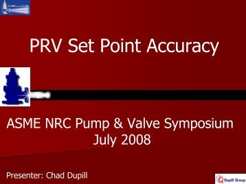PRV Set Point Accuracy