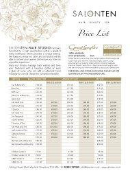 Price List - Salon Ten