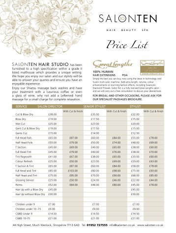 Price list oasis salon finsbury park city and for Cristophe salon prices