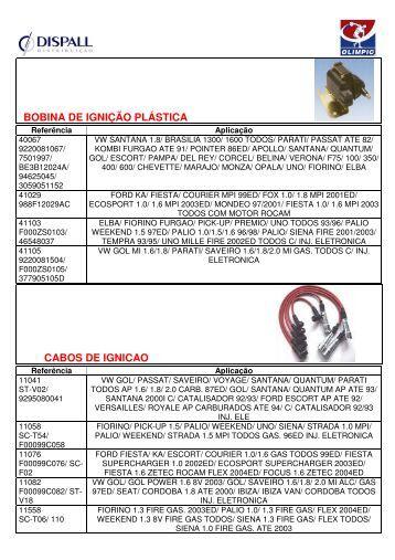 bobina de ignição plástica cabos de ignicao - Dispall.com.br