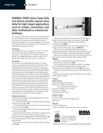 DORMA's 9000 Series heavy-duty exit devices provide superior ...