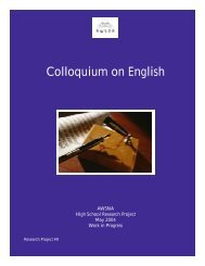 Colloquium on English - Research Institute for Waldorf Education