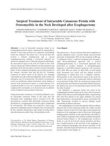 Surgical Treatment of Intractable Cutaneous Fistula with ...