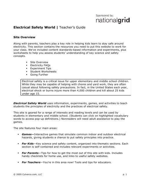 Electrical Safety World | Teacher's Guide - Energy Education ...