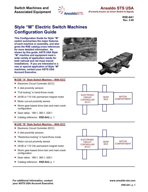 "Style ""M"" Electric Switch Machines Configuration Guide"