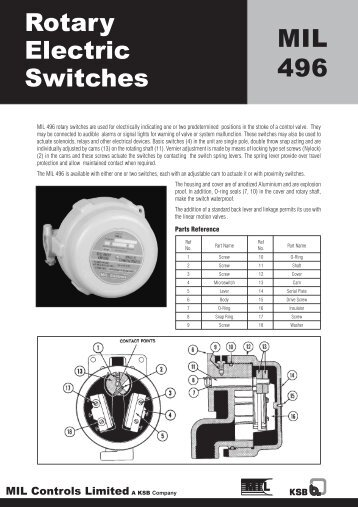 Rotary Electric Switches MIL 496 - MIL Controls Limited