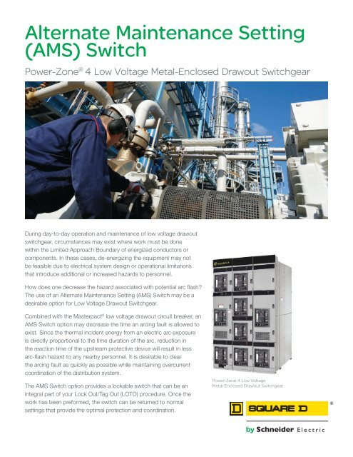 Alternate Maintenance Setting (AMS) Switch - Schneider Electric