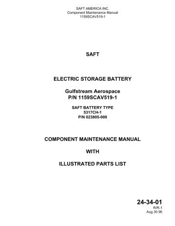 SAFT ELECTRIC STORAGE BATTERY Gulfstream Aerospace P/N ...