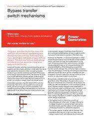 Bypass transfer switch mechanisms - Cummins Inc.