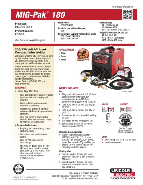 MIG-Pak 180 Product Info - Lincoln Electric