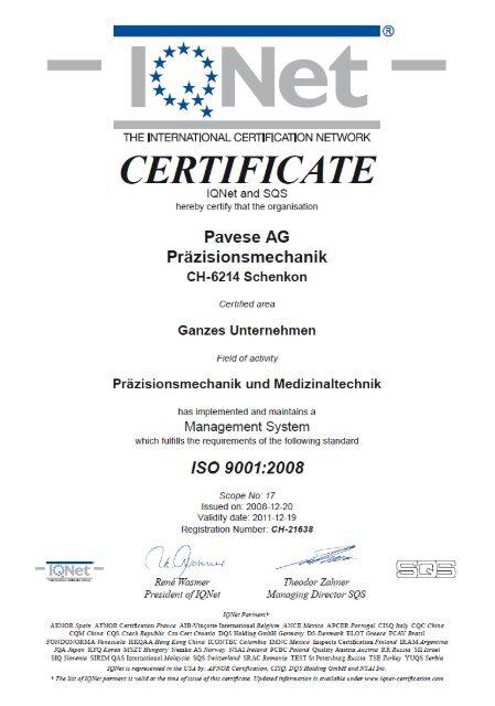 ISO - Zertifiziert