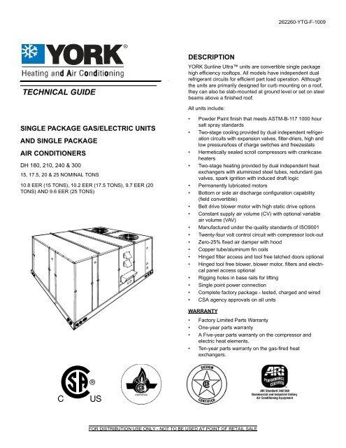 York, TG, SP G/E Units & SPAC, DH 180, 210, 240 & 300 - 15, 17 5