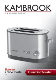 Instruction Booklet Stainless 2 Slice Toaster - Kambrook