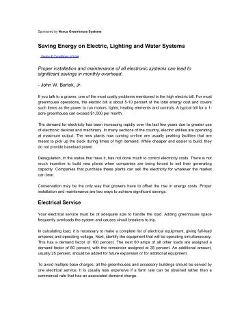 Saving Energy on Electric, Lighting and Water Systems
