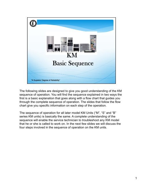 KM sequence of operation - Hoshizaki America, Inc