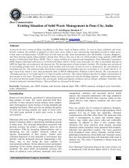 Existing Situation of Solid Waste Management in Pune City ... - ISCA