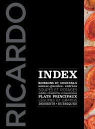 index des recettes du magazine Ricardo