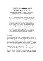 SUMERO-INDO-EUROPEAN LANGUAGE CONTACTS - Helsinki.fi