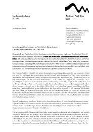 Medienmitteilung zur Ausstellung - Zentrum Paul Klee