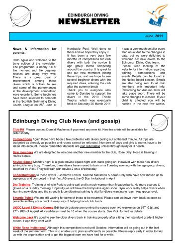 newsletter - admin - Edinburgh Diving Club