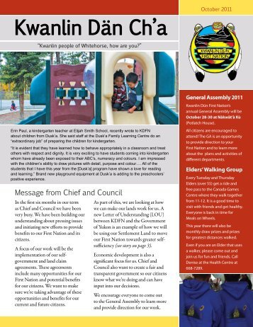 Oct 2011 - Kwanlin Dün First Nations