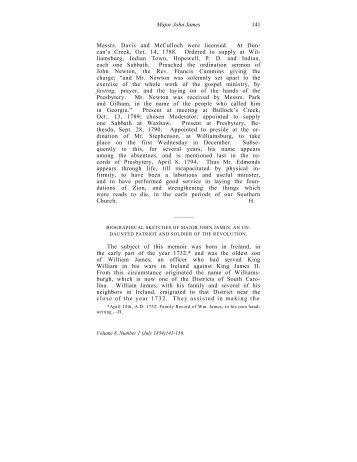 Biographical Sketches of Major John James - PCA Historical Center