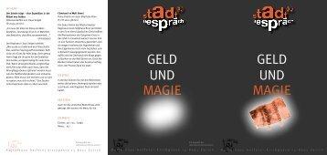 GELD UND MAGIE GELD UND MAGIE - Kulturhaus Helferei