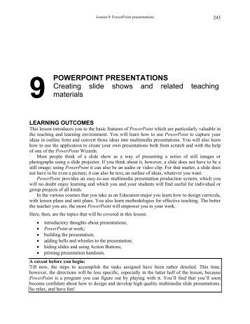 9 POWERPOINT PRESENTATIONS Creating slide shows and ...