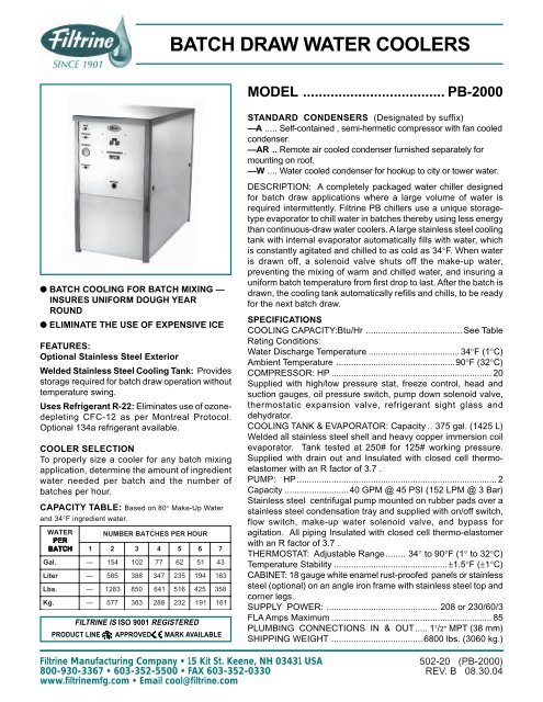 BATCH DRAW WATER COOLERS - Filtrine