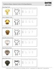 Traditional Brass Cabinet Knob & Pull Specifications - Emtek