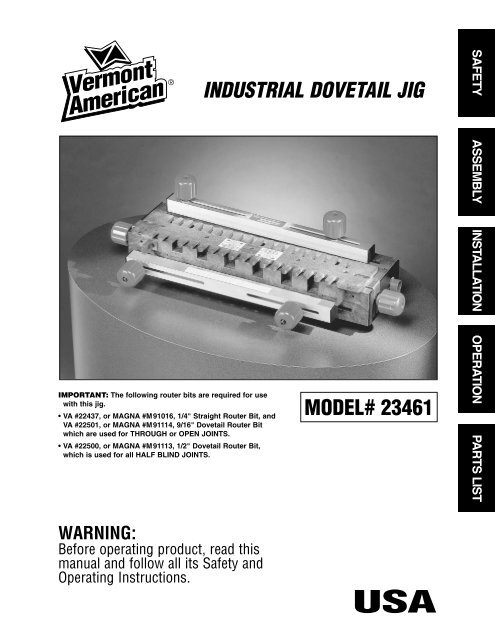 image about Printable Dovetail Template called Commercial Dovetail Jig - Vermont American